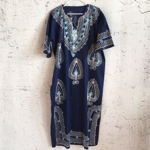 Vintage handmade blue floral tunic dress
